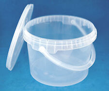 10 x 3000ml Clear Plastic Tamper Proof Tubs Buckets with Lids   Handles 079dd2afab90c