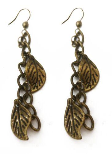 Caprilite Bronze Leaf Drop Earrings Fish Hook Dangle charm Womens Vintage