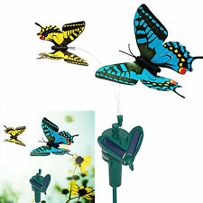 2 Solar Powered Flying Butterflies Yellow and Blue Swallowtail for Garden Decor