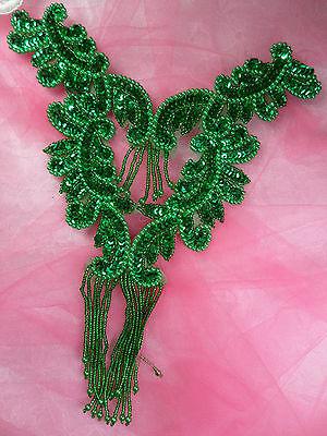 "0510 Kelly Green Bodice Yoke Sequin Beaded Applique Sewing Patch Motif  10"""