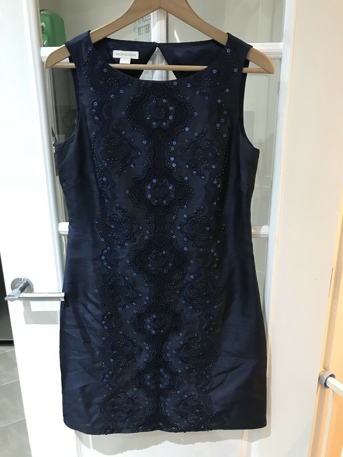 Monsoon Navy Sequin Dress UK Size 12 (should have steamed creases)