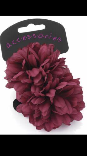 Deux pièces Bourgogne Grande Fleur Ponio Set Cheveux Band fashion élastique Bobbles nouveau