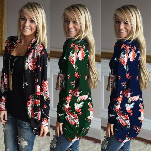 Womens Ladies Boho Long Sleeve Floral Cardigan Outwear Coat Top Kimono Blouse