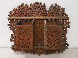 Antiguo-Madera-Soporte-de-Pared-Handgefertigt-Vintage-Um-1900