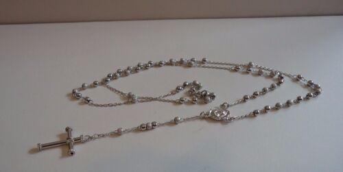 925 STERLING SILVER SHINY ROSARY NECKLACE BRACELET W// DIAMOND CUT BEEDS