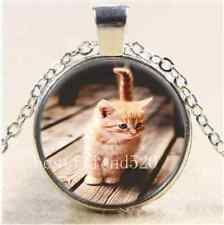 Postmeridian Cute Cat Cabochon Glass Tibet Silver Chain Pendant  Necklace