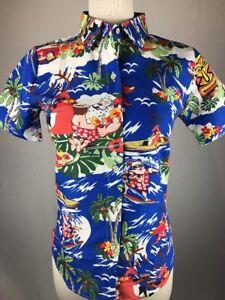 Christmas Hawaiian Shirt Womens.Details About Sslr Women S Collection Tiki Santa Reindeer Christmas Hawaiian Aloha Shirt Xs