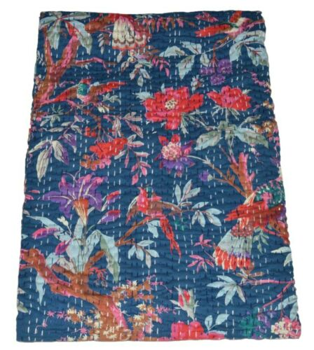 Details about  /Indian Embroidery Kantha Quilt Bedspread Bird Print Throw Cotton Blue
