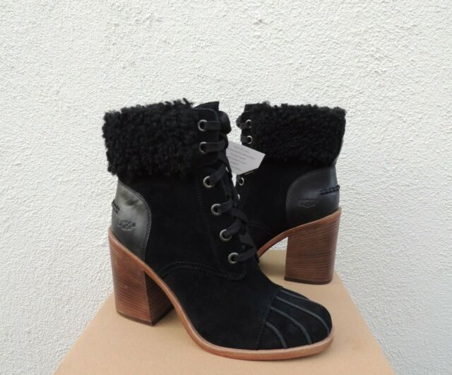 3ac855c31d4 UGG Jaxon Black Suede Sheepskin High Heel Duck BOOTS Women US 10/ EUR 41