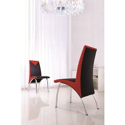 SET OF 6 DESIGNER LEATHER CHROME DINING ROOM CHAIRS-FURNITURE-(4 COLOURS)-IJ614