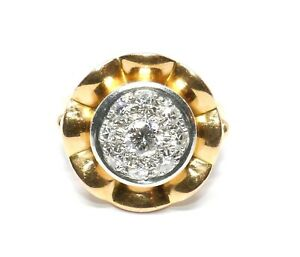 BAGUE-OR-JAUNE-18K-ET-PLATINE-EPOQUE-40-50-PAVAGE-DIAMANTS-0-50CARAT