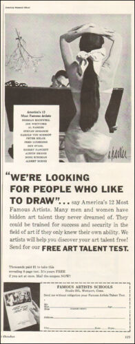 1950s vintage AD FAMOUS ARTISTS SCHOOLS Al Parker Art Free talent test! 063016