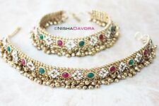 anklet dancer ornate chains toe thong belly paayal antique traditional red green