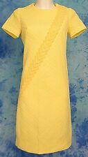 ReTrO MOD 60s ViNTAGE YELLOW ARGYLE LACE DRAPE BoHo MiD CENTURY COCKTAiL DRESS M