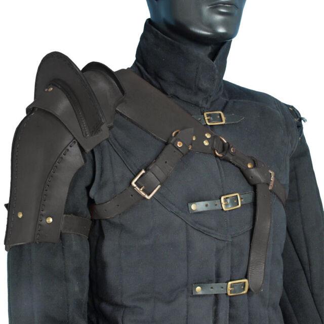 Warrior Single Black Medium Leather Pauldron, Armour, Steampunk, Medieval, LARP
