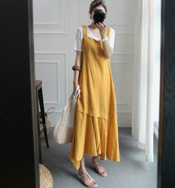 Women's Long Dress Suspender Strap-skirt Cotton Linen Korean Loose Beach Casual