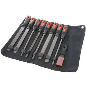 NEW-9-PIECE-8-034-METAL-FILE-AND-RASP-SET-FLAT-HALF-ROUND-TRIANGLE-SQUARE-amp-ROUND