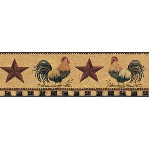 Wallpaper-Border-Country-Roosters-Red-Stars-on-Tan-Crackle-Black-Tan-Check-Trim