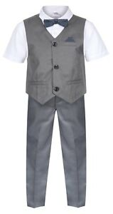 Baby-Boys-Waistcoat-Set-Grey-Toddler-Wedding-Suit-Page-Boy-Party-Prom-Ceremony