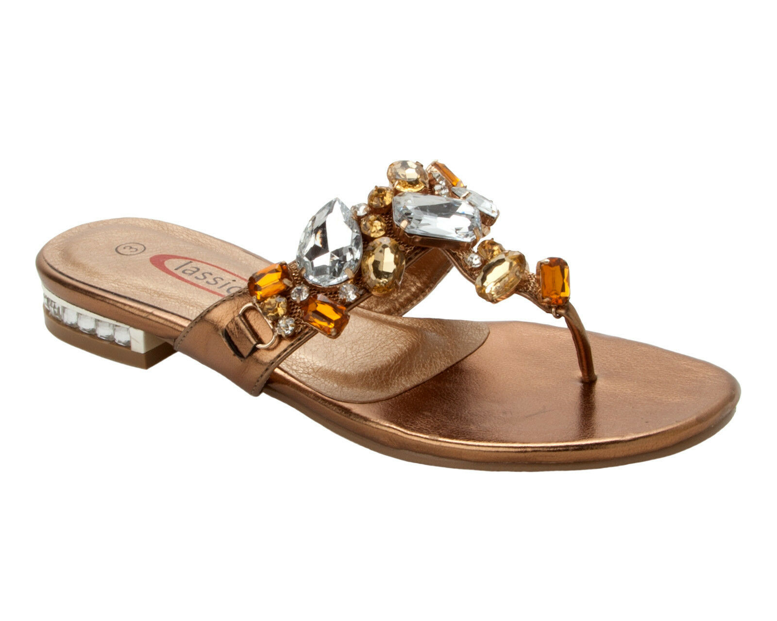 Man's/Woman's WOMENS BRONZE GEM HOLIDAY DIAMANTE TOE POST SUMMER HOLIDAY GEM BEACH SANDALS LADIES SIZE 3-8 Fashion pattern Various types and styles List of explosions WW171 42458e