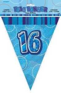 GLITZ-BLUE-FLAG-BANNER-16TH-BIRTHDAY-3-6M-12-039-BIRTHDAY-PARTY-DECORATION