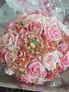 Bouquet Sposa Rose Rosa.Bouquet Da Sposa Matrimonio Petali Di Rose Rosa Fiori Asiatici
