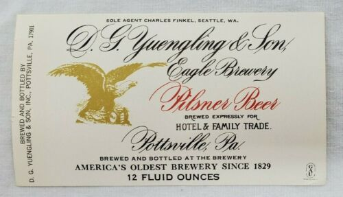 VINTAGE D.G.Yuengling /& Son//Eagle Brewery Pilsner Beer Unused 12oz Bottle Label