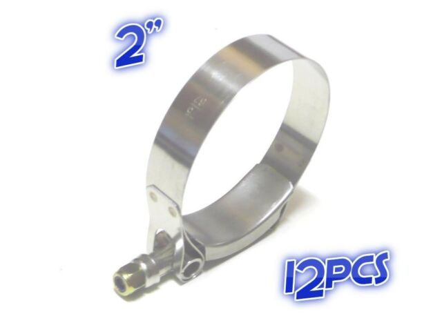 """12 x 2"""" T BOLT CLAMP Turbo Pipe Silicone Hose Coupler Stainless Steel  54-62mm"""