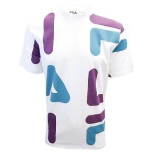 FILA-Men-039-s-White-Purple-Teal-Letters-S-S-T-Shirt-S02E