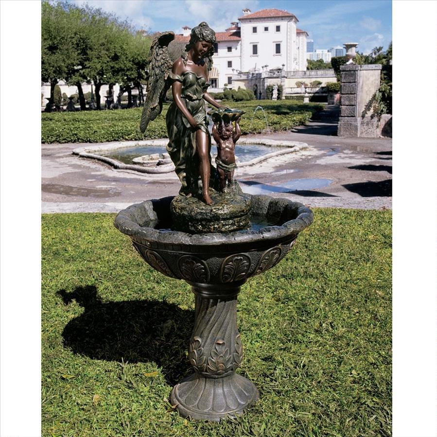Heavenly momentos Ángel hermoso bronce en cascada Sculptural Jardín Fuente