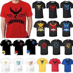 Anime-Pokemon-Go-Team-Valor-Mystic-Instinct-Pokeball-Shirt-Short-Sleeve-Nerd-TEE