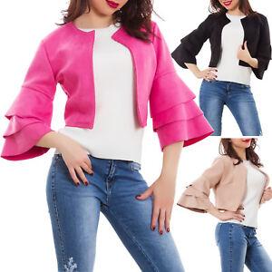 efc7ca06c9 Dettagli su Giacca donna ecopelle giacchetto giubbino ruches senza chiusura  nuova AS-5575