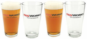 SET-OF-4-KegWorks-Tools-For-Drinking-Pint-Glass-16-oz-Bar-amp-Pub-Beer-Cup