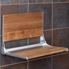 Folding Wood Bench Wall Shower Seat Mount Bath Teak Stool Mounted Modern Strong