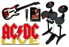 ACDC Wii-U/Wii Rock Band Value Set w/drums, guitar mic bundle kit nintendo AC/DC