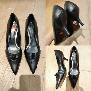 Women-DOROTHY-PERKINS-Kitten-Heel-Pointy-Shoes-UK-4-Black-Leather-Slip-On-Smart