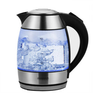 monzana® Wasserkocher 1,8 L Glas Edelstahl LED Kocher Teekocher kabellos 2200W
