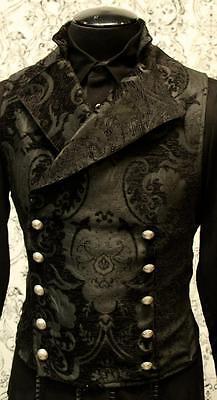 SHRINE GOTHIC VAMPIRE CAVALIER BLACK VEST JACKET VICTORIAN TAPESTRY STEAMPUNK