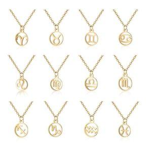 Edle-Damen-Kette-Halskette-mit-Sternzeichen-Anhaenger-aus-Edelstahl-gold-silber
