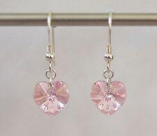 Plata Esterlina pendientes W Swarovski Elements Luz Rose AB Rosa Corazón de Cristal