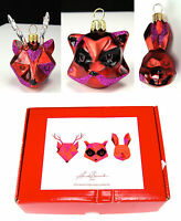 Christmas Tree Ornaments Crate & Barrel Woodland Creatures Faceted Glass Set 3
