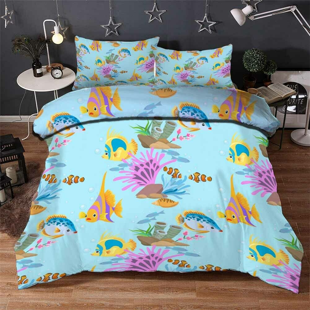 Coral Fish Bugs 3D Printing Duvet Quilt Doona Covers Pillow Case Bedding Sets
