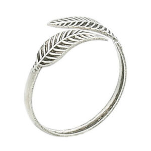 Genuine-Sterling-Silver-Toe-Ring-Leaf-Leaves-Feather-Adjustable-Women-Girls