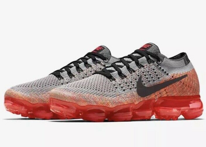 Nike Air Vapormax Flyknit Womens SZ 7 Shoes Wolf Grey/Black/Crimson 849557-026