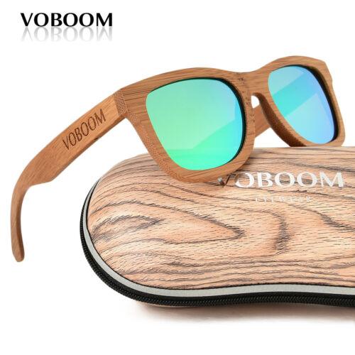Voboom Femme Homme Luxe Handmade carbonisé Bois Bambou Lunettes de soleil polarisées