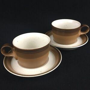 Set-of-2-VTG-Cups-and-Saucers-Mikasa-Potters-Art-BUCKSKIN-Brown-Ben-Seibel-Japan