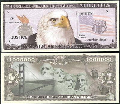 FREE SLEEVE Proud American Eagle Million Dollar Bill Funny Money Novelty Note