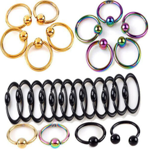 2//5//10Pc Stainless Steel Navel Cartilage Nose Lip Hoop Round Ring Nail Piercing