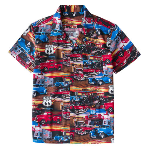 Mens Route 66  Hawaii Shirts Rockabilly Cotton Top Casual Shirt Retro Design