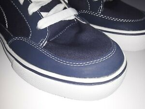 Mens-8-Blue-Canvas-Leather-Sneaker-Skate-Shoes